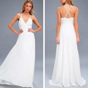 Lulu's Madalyn White Lace Maxi